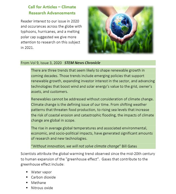 2021 Call For Articles Climate Research